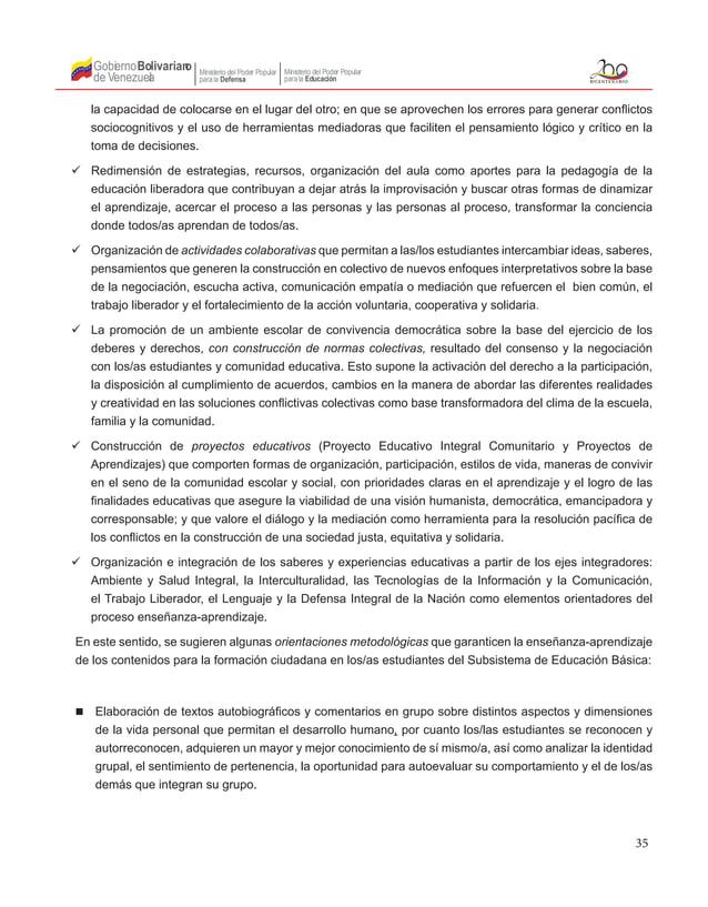 35 Gobierno de Venezuela Bolivariano Ministerio del Poder Popular parala Educación Ministerio del Poder Popular parala Def...