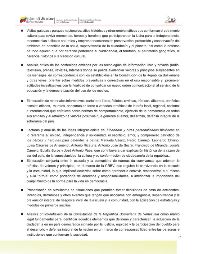 37 Gobierno de Venezuela Bolivariano Ministerio del Poder Popular parala Educación Ministerio del Poder Popular parala Def...