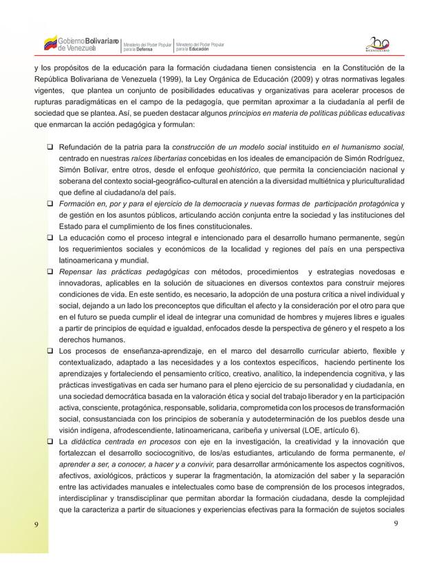 9 Gobierno de Venezuela Bolivariano Ministerio del Poder Popular parala Educación Ministerio del Poder Popular parala Defe...