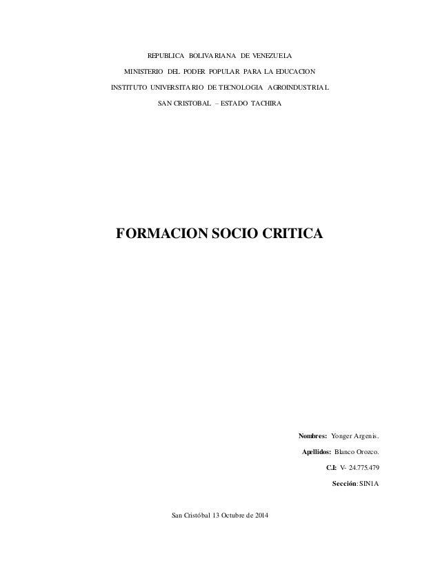 REPUBLICA BOLIVARIANA DE VENEZUELA  MINISTERIO DEL PODER POPULAR PARA LA EDUCACION  INSTITUTO UNIVERSITARIO DE TECNOLOGIA ...