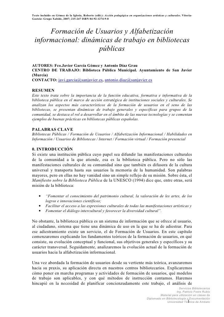 Texto incluido en Gómez de la Iglesia, Roberto (edit.): Acción pedagógica en organizaciones artísticas y culturales. Vitor...