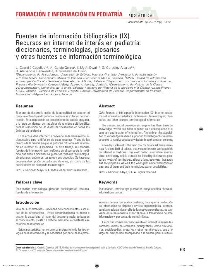 FORMACIÓN E INFORMACIÓN EN PEDIATRÍA                                                                                P E D ...