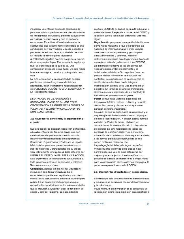 Formación-Empleo e Inmigración. La inserción social y laboral: una oportunidad para el trabajo en red  Estudios de Juventu...