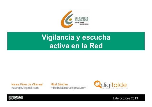 Vigilancia y escucha activa en la Red 1 de octubre 2013 Naiara Pérez de Villarreal naiarapzv@gmail.com Mikel Sánchez mikel...