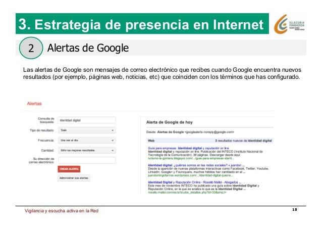 Estrategia de presencia en Internet 18 Alertas de Google 3. Estrategia de presencia en Internet 2 Las alertas de Google so...