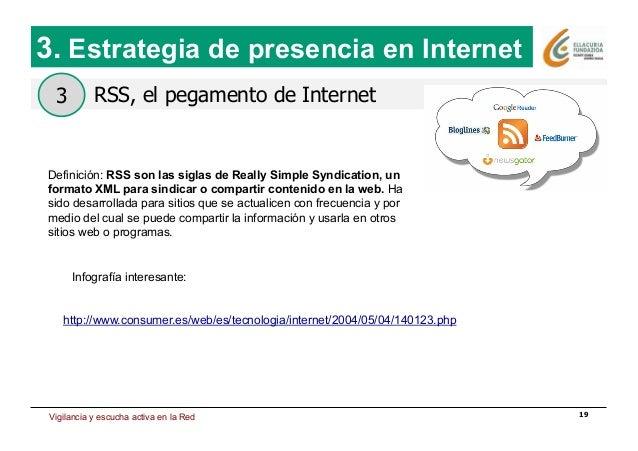 Estrategia de presencia en Internet 19 RSS, el pegamento de Internet 3. Estrategia de presencia en Internet 3 Definición: ...
