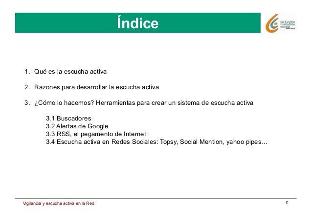 Estrategia de presencia en Internet Índice 2 Índice 1. Qué es la escucha activa 2. Razones para desarrollar la escucha a...