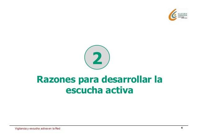Estrategia de presencia en Internet 6 Razones para desarrollar la escucha activa 2 Vigilancia y escucha activa en la Red