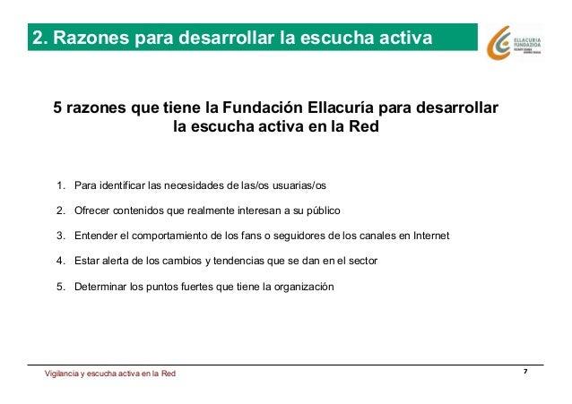 Estrategia de presencia en Internet 7 2. Razones para desarrollar la escucha activa 5 razones que tiene la Fundación Ellac...