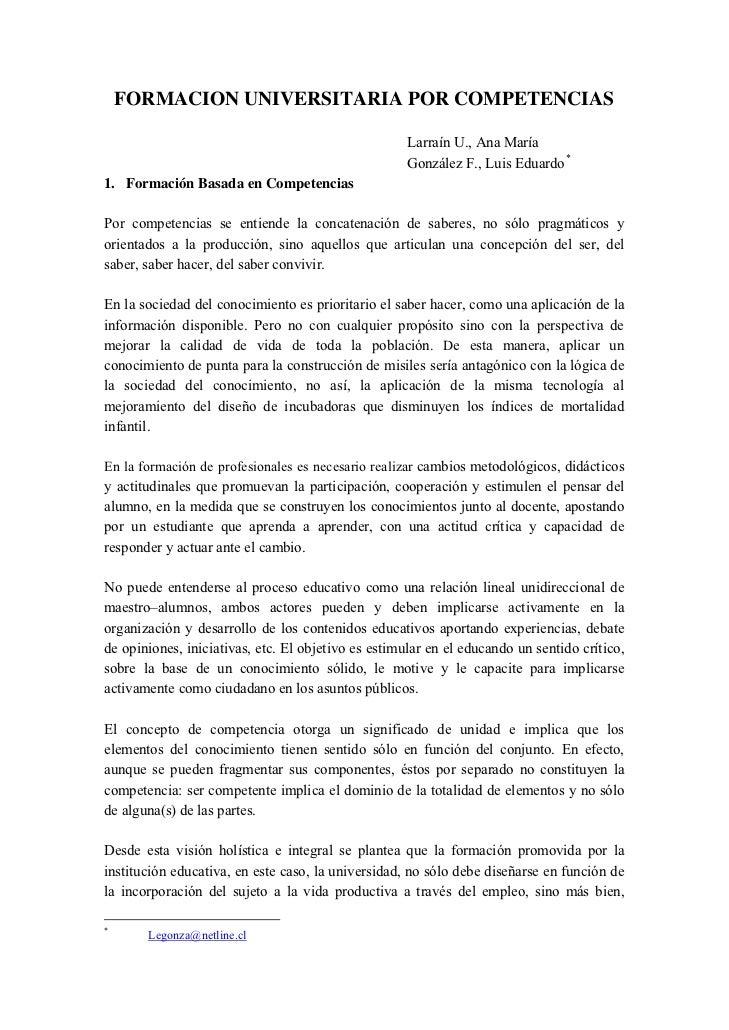 FORMACION UNIVERSITARIA POR COMPETENCIAS                                                     Larraín U., Ana María        ...