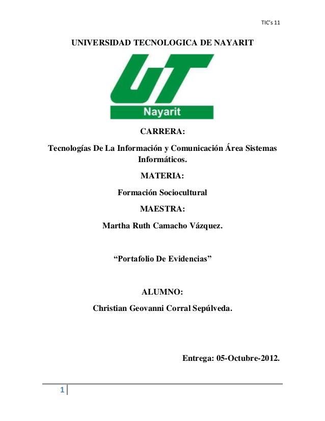 TIC's 11       UNIVERSIDAD TECNOLOGICA DE NAYARIT                       CARRERA:Tecnologías De La Información y Comunicaci...