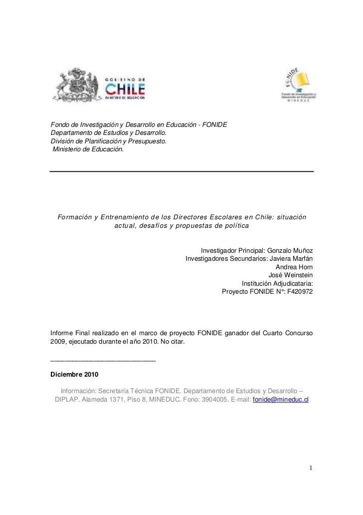 Fondo de Investigación y Desarrollo en Educación - FONIDEDepartamento de Estudios y Desarrollo.División de Planificación y...