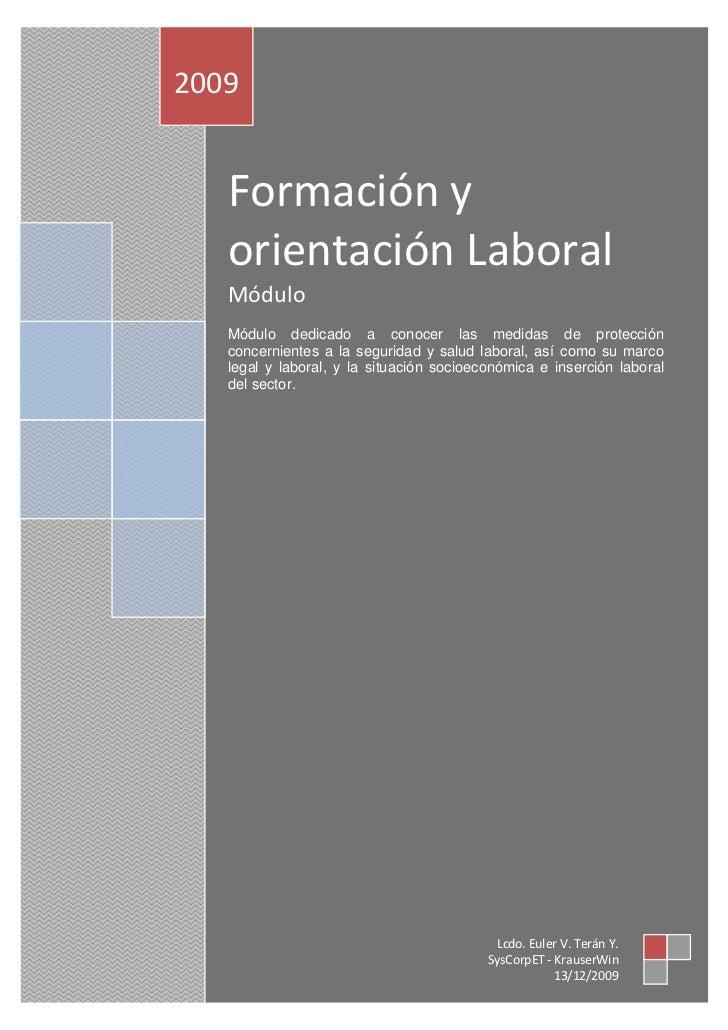 Formación y Orientación Laboral                                                            Pág. [1]                 2009  ...