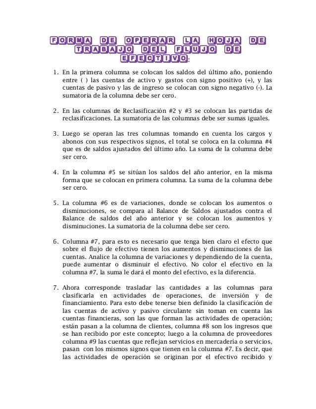 FORMA DE OPERAR LA HOJA DE TRABAJO DEL FLUJO DE EFECTIVO: 1. En la primera columna se colocan los saldos del último año, p...