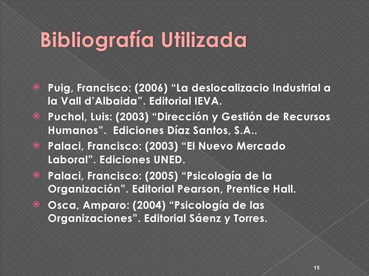 """Bibliografía Utilizada     Puig, Francisco: (2006) """"La deslocalizacio Industrial a     la Vall d'Albaida"""". Editorial IEVA..."""
