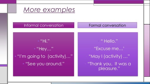 Formal And Informal Language Use