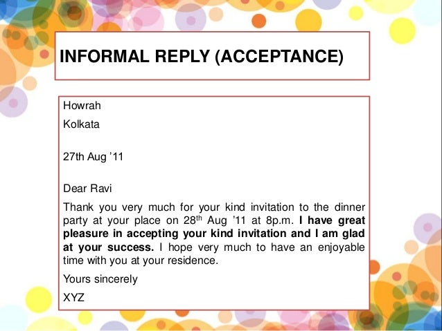 Formal and informal invitation kls 11 kurikulum 2013 yours sincerely xyz 17 stopboris Choice Image
