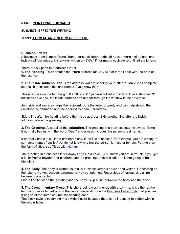 informal cover letter