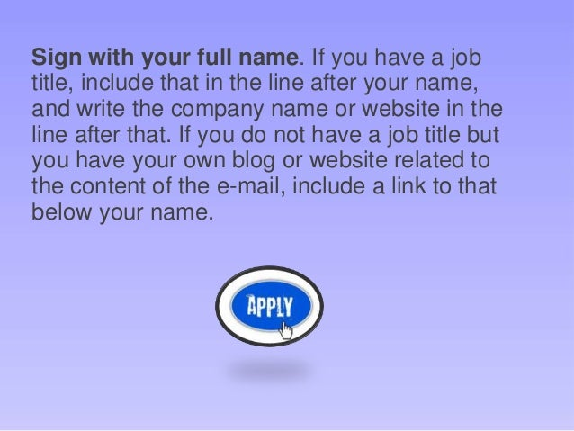 Applying For A Job E Mail