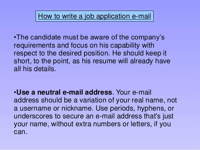 Write An Email For Applying Job Online