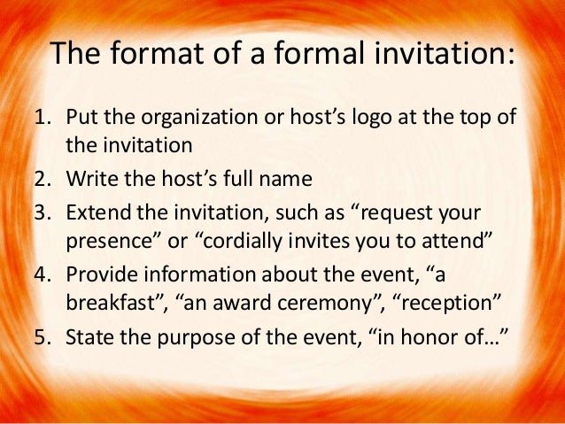 Formal invitation