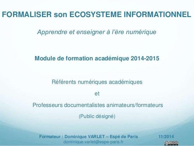FORMALISER son ECOSYSTEME INFORMATIONNEL  Apprendre et enseigner à l'ère numérique  Module de formation académique 2014-20...