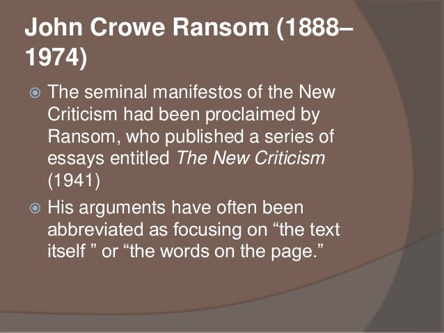 formalism and new criticism Name given to a style of criticism advocated by a group of academics writing in the first half of the 20th century new criticism, like formalism, tended to consider texts.