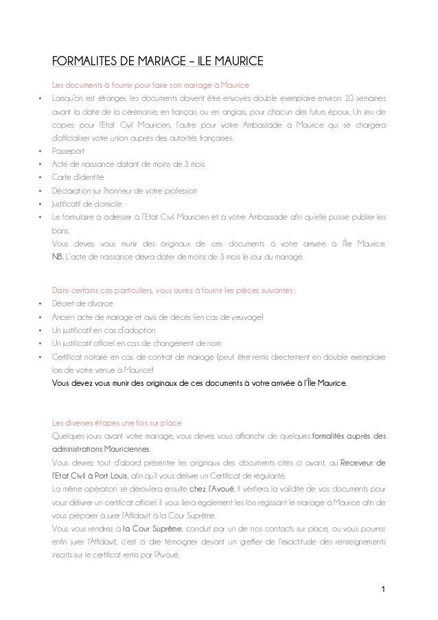 1 formalites de mariage ile maurice les documents fournir pour faire son mariage - Mariage Francais Etranger Documents