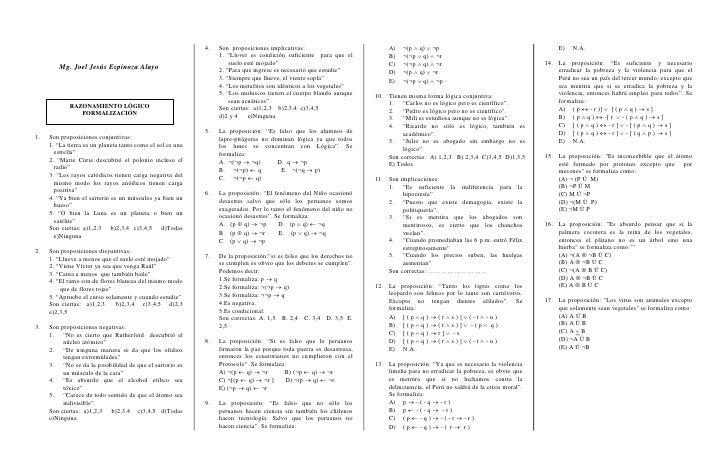 4.   Son proposiciones implicativas:                           A)   ¬(p  q)  ¬p                                         ...