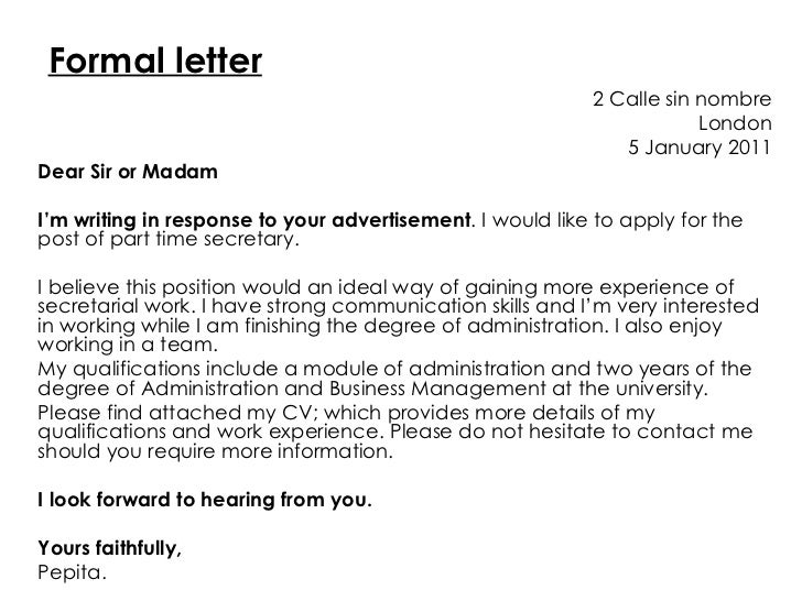 cover letter looking forward to hearing from you - formal letter vs informal letter
