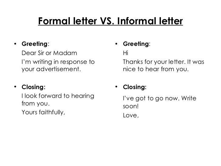 Formal letter vs informal letter formal letter vs spiritdancerdesigns