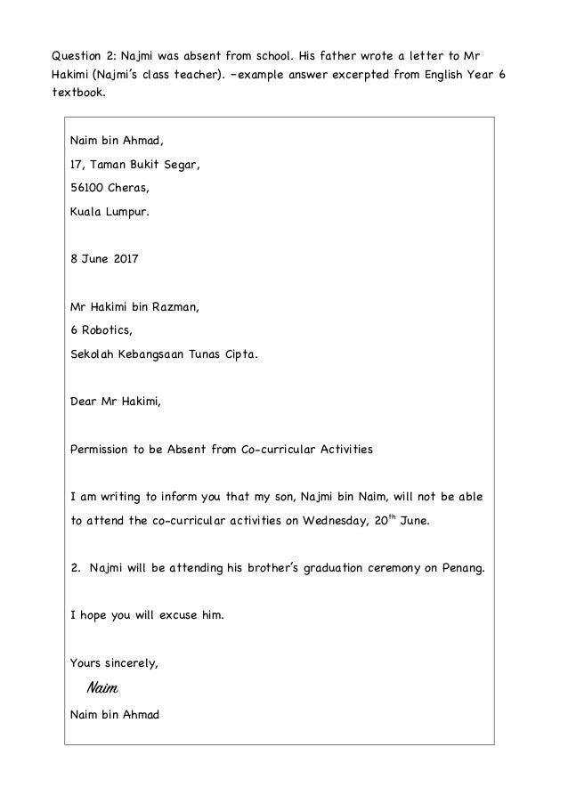 Formal Letter Format Examples Exercises