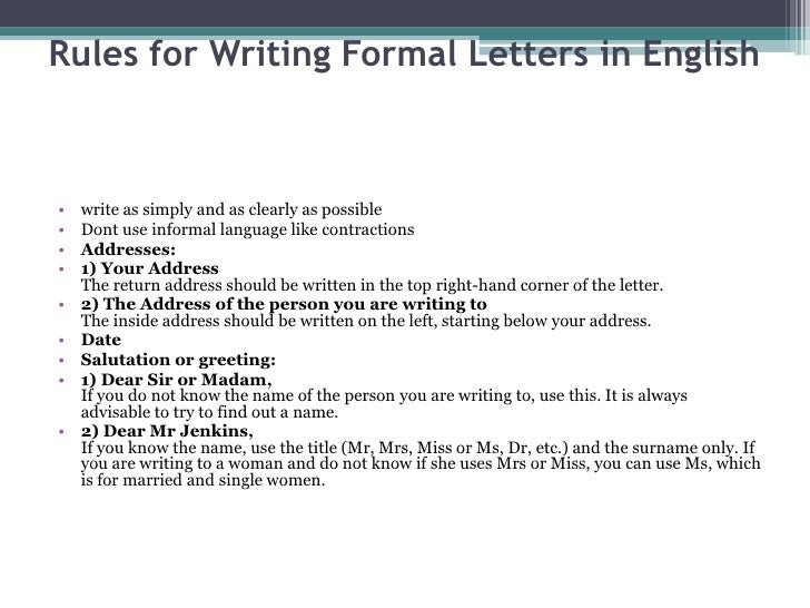 Formal letters rules for writing formal letters spiritdancerdesigns Gallery