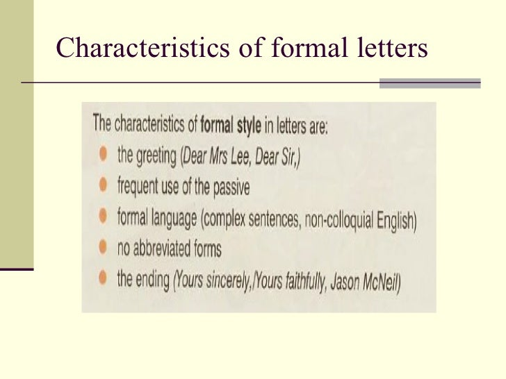 Formal Letters