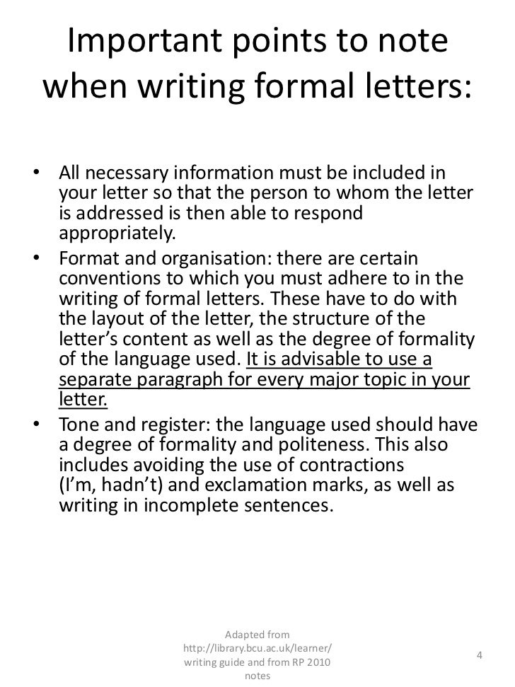 layout of formal letter