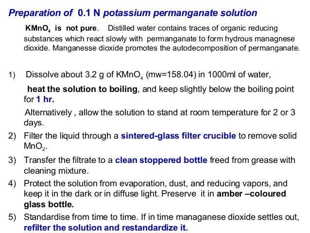 preparation and standardization of potassium permanganate