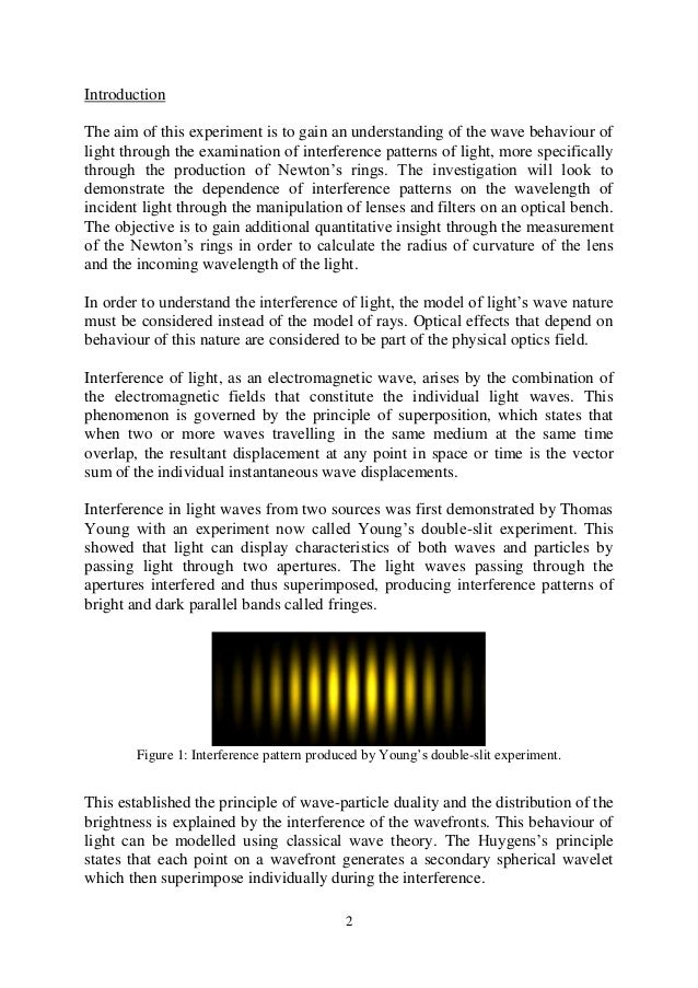 diffraction and interference of light essay Interference and diffraction from uni study guides  but not white light) constructive interference occurs when the path of the light from one slit is equal in .