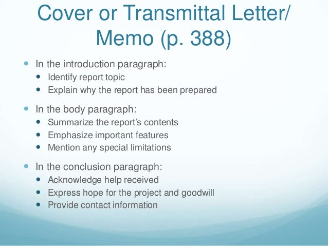 Formal reports and proposals – Letter of Transmittal for Proposal