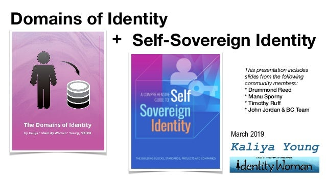 Kaliya Young Self-Sovereign Identity Domains of Identity + March 2019 This presentation includes slides from the following...