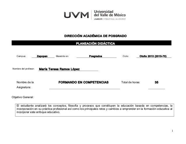 DIRECCIÓN ACADÉMICA DE POSGRADO PLANEACIÓN DIDÁCTICA  Campus:  Nombre del profesor:  Nombre de la  Zapopan  Maestría en  P...