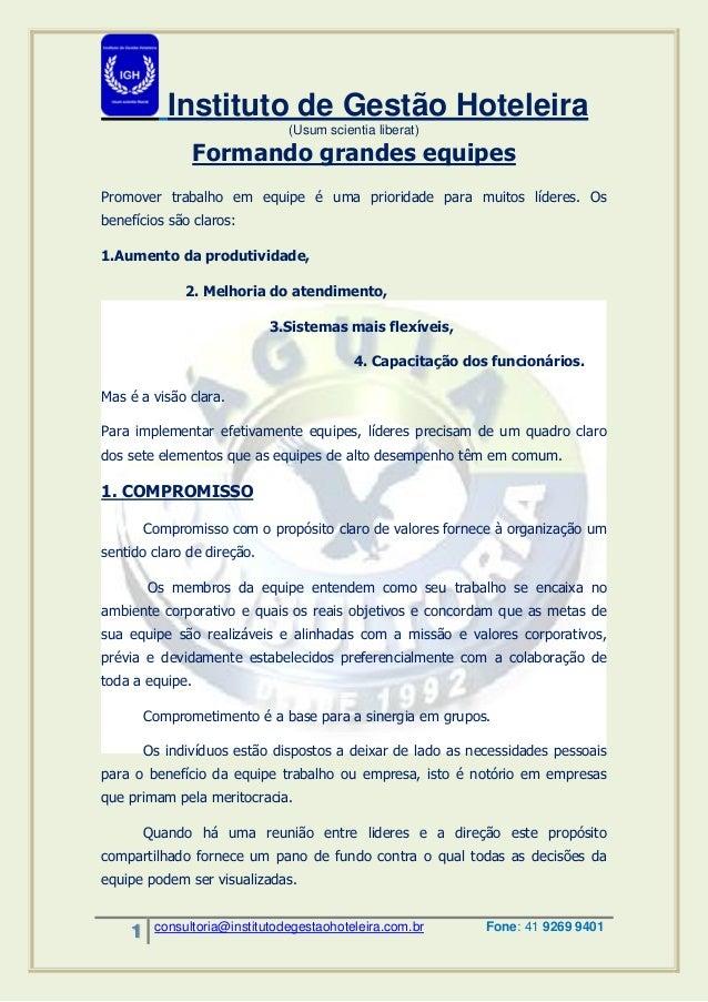 Instituto de Gestão Hoteleira  (Usum scientia liberat)  1 consultoria@institutodegestaohoteleira.com.br Fone: 41 9269 9401...