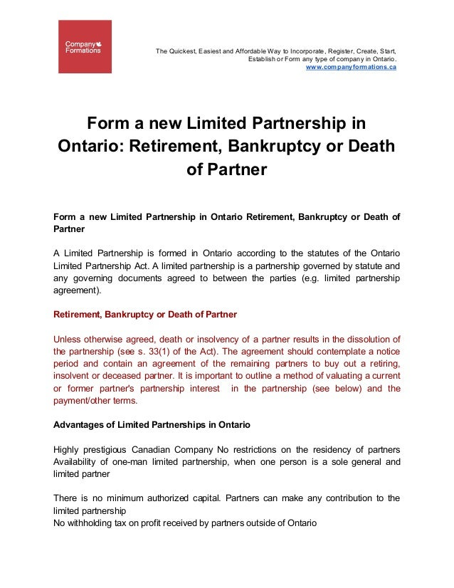 Form A New Limited Partnership In Ontario Retirement Bankruptcy Or D