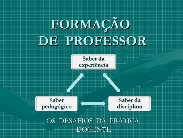 FORMAÇÃOFORMAÇÃO DE PROFESSORDE PROFESSOR OS DESAFIOS DA PRÁTICAOS DESAFIOS DA PRÁTICA DOCENTEDOCENTE