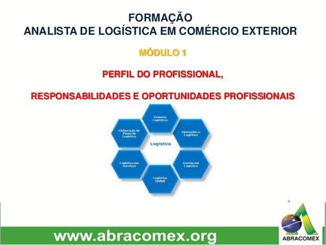MÓDULO 1 PERFIL DO PROFISSIONAL, RESPONSABILIDADES E OPORTUNIDADES PROFISSIONAIS FORMAÇÃO ANALISTA DE LOGÍSTICA EM COMÉRCI...