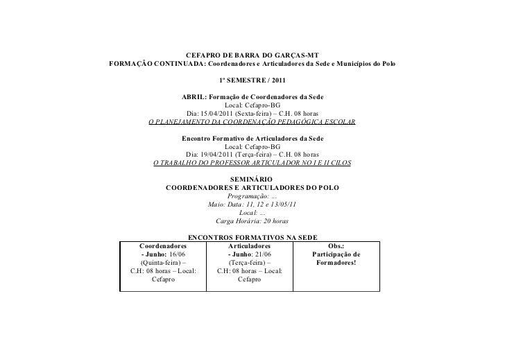 CEFAPRO DE BARRA DO GARÇAS-MTFORMAÇÃO CONTINUADA: Coordenadores e Articuladores da Sede e Municípios do Polo              ...