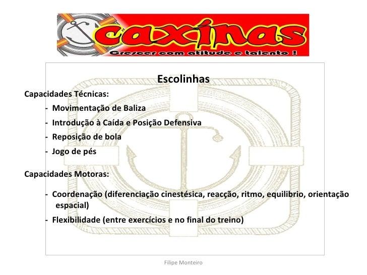 Escolinhas Capacidades Técnicas: -  Movimentação de Baliza -  Introdução à Caída e Posição Defensiva -  Reposição de bola ...