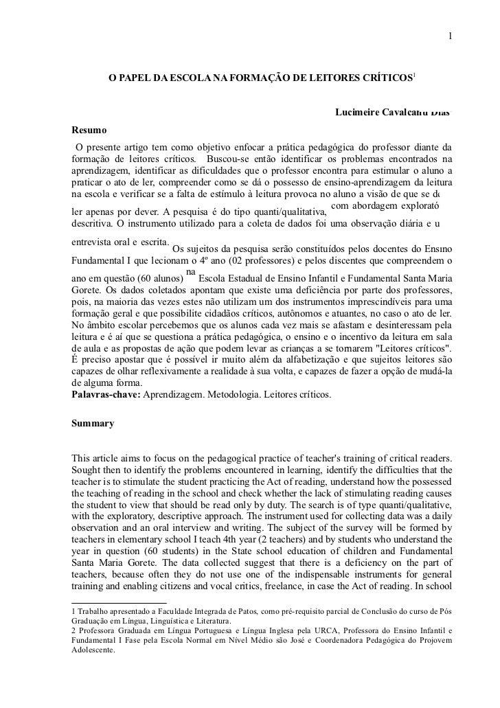 1          O PAPEL DA ESCOLA NA FORMAÇÃO DE LEITORES CRÍTICOS1                                                            ...