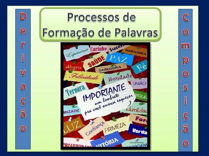 Processos de <br />Formação de Palavras<br />D<br />e<br />r<br />i<br />v<br />a<br />ç<br />ã<br />o<br />C<br />o<br ...