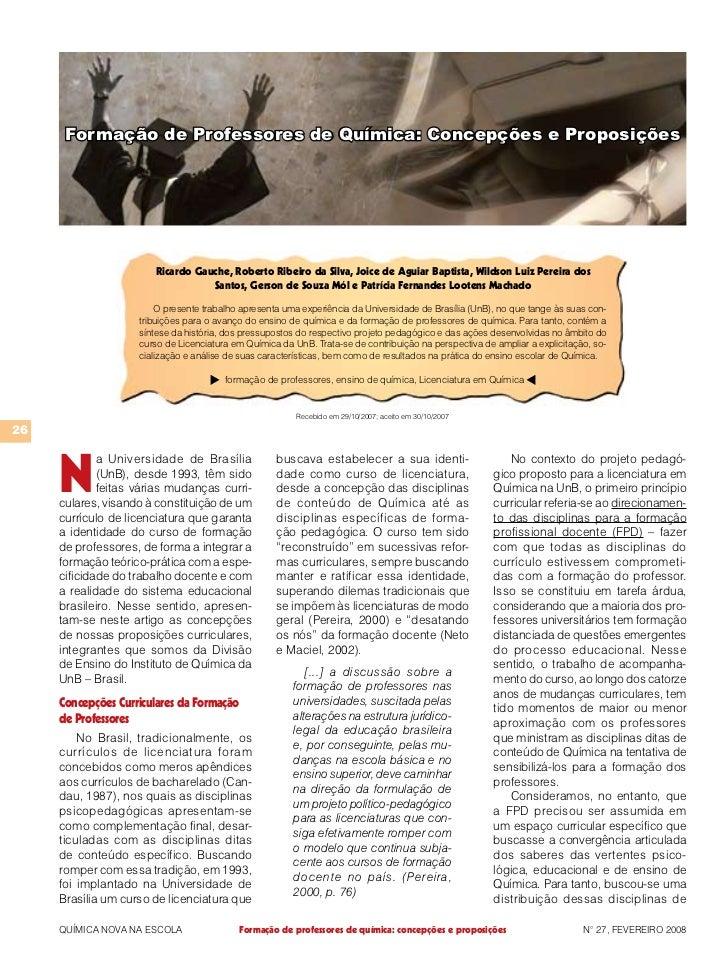 Formação de Professores de Química: Concepções e Proposições                       Ricardo Gauche, Roberto Ribeiro da Silv...