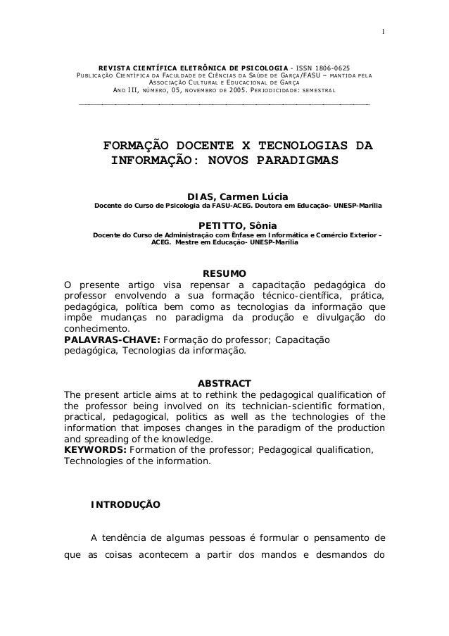 1REVISTA CIENTÍFICA ELETRÔNICA DE PSICOLOGIA - ISSN 1806-0625PU B L I C A Ç Ã O CI E N T Í F I C A D A FA C U L D A D E D ...